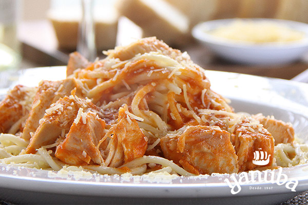 Spaguetti con pollo