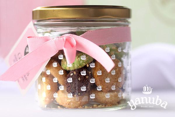 Galleta de pistacho chocolate y vainilla-limón frasco